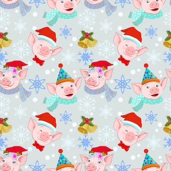 Christmas pig on winter background seamless pattern.