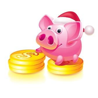 Christmas piggy bank guard on coins
