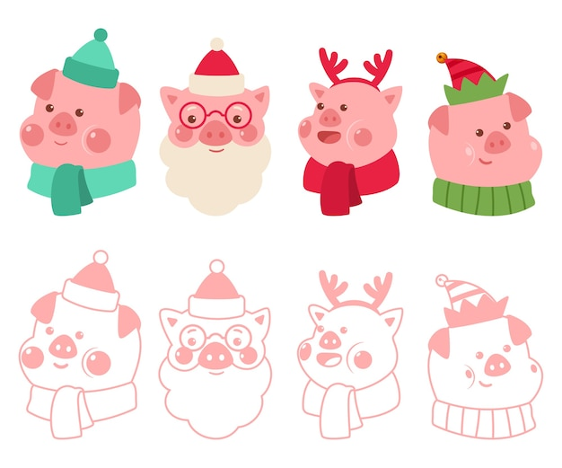 Christmas pigs in the costumes of santa claus, reindeer and elf