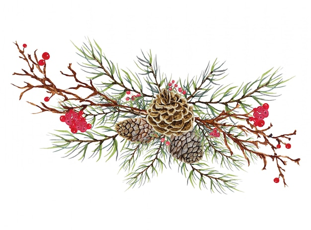 Christmas pine cone with green leaves and red berry - christmas celebration decoration