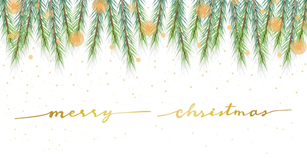 Christmas pine leafs banner with golden calligraphy
