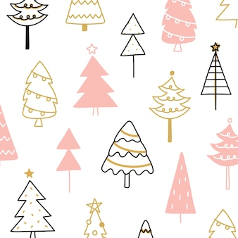 Christmas pine tree composition in drawing doodle style