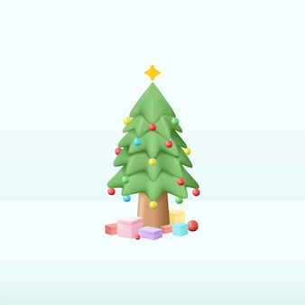 Christmas pine tree decor with some present gift 3d illustration