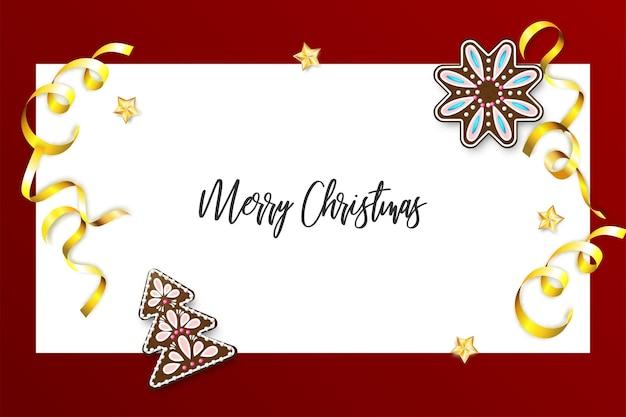 Рождественские сосны домашние имбирные пряники реалистичные рождественские традиционные имбирные украшения золотое конфетти