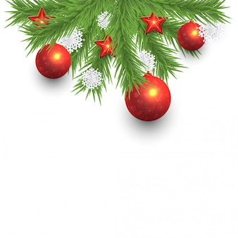Christmas pine tree and snowflakes with baubles