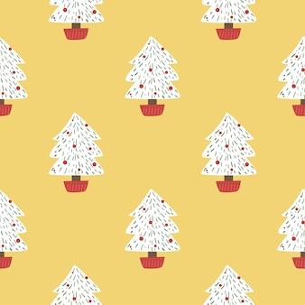 Christmas pine trees seamless pattern vector