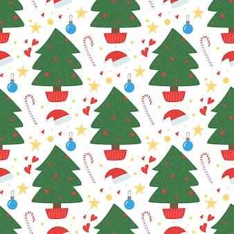 クリスマスの松の木のシームレスなパターン。冬のかわいいサンタの帽子、モミ、ギフト、花輪。ベクトルイラスト。 2020年旧正月のシンボルの背景。冬の休日のための創造的な手描きのテクスチャ。