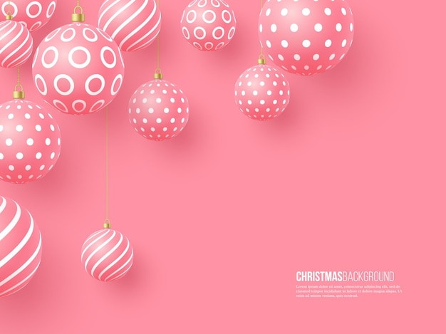 Christmas pink baubles with geometric pattern. 3d realistic style, abstract holiday background, vector illustration.