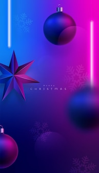 Christmas pink and blue neon lighting background