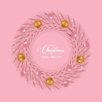 ピンクと金色の装飾ライトボールとクリスマスピンクの花輪のデザインピンクのガーリーリースのデザイン