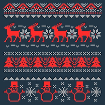 Christmas pixel background for traditional scandinavian sweater.   illustration