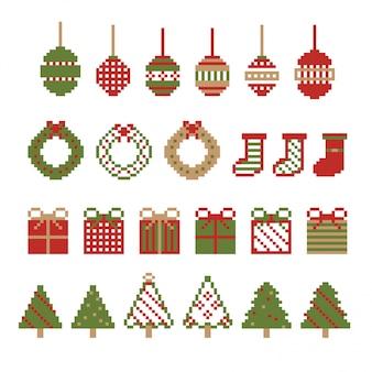 Рождественский пиксельный орнамент. набор из зимы.