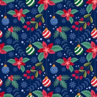 クリスマスの植物とクリスマスボールのシームレスなパターン