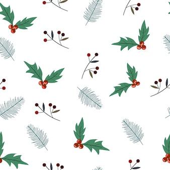 Christmas plant seamless pattern