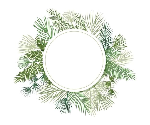 モミと松の枝、常緑の花輪とコーナーフレームとクリスマス植物ベクトル円の境界線。丸い自然ヴィンテージカード、葉のイラスト Premiumベクター