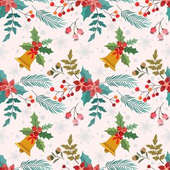 要素のシームレスなパターンを持つクリスマスの植物。