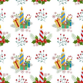 Рождественские заводы свечи и подарочный образец.
