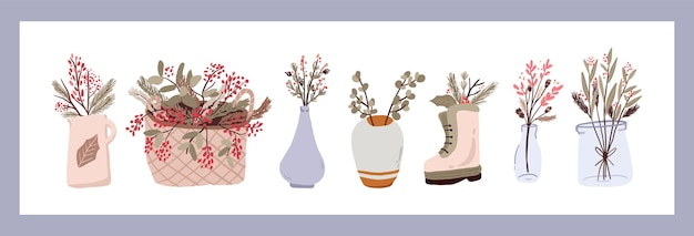 Christmas plants decor elements set sticker for bullet journal swirls