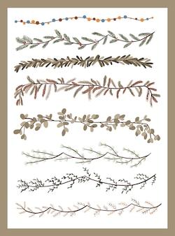 クリスマスの植物の装飾要素は、弾丸ジャーナル渦巻きデザインのステッカーを設定します
