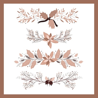 크리스마스 식물 장식 요소 세트 총알 저널 소용돌이 디자인 스티커
