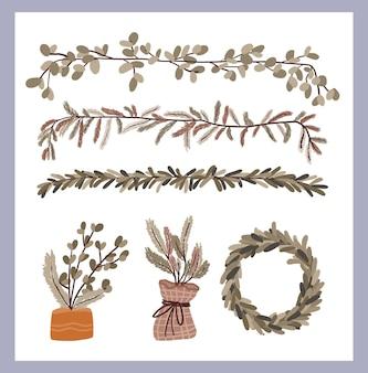 Набор элементов декора новогодних растений стикер для завитков пулевого журнала