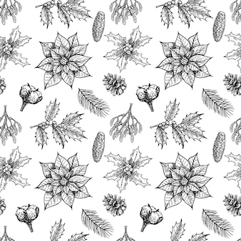 Christmas plants seamless pattern with vintage winter flowers evergreen conifers plants design with hand drawn botanical elements