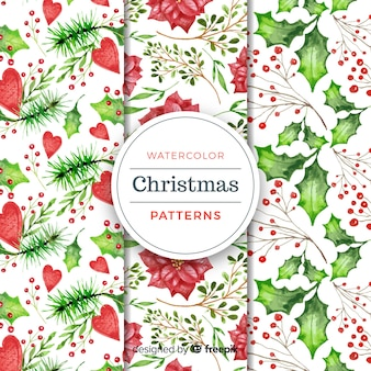 Christmas plants watercolor pattern