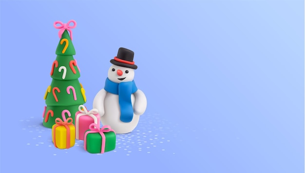 Christmas plasticine composition with tree, snowman character and gift boxes