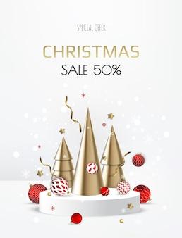 雪とクリスマスツリー、クリスマスボールとクリスマスの表彰台。空白の台座。ベクトルイラスト。