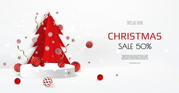 雪と紙の木、クリスマスボールとクリスマスの表彰台。空白の台座。ベクトルイラスト。