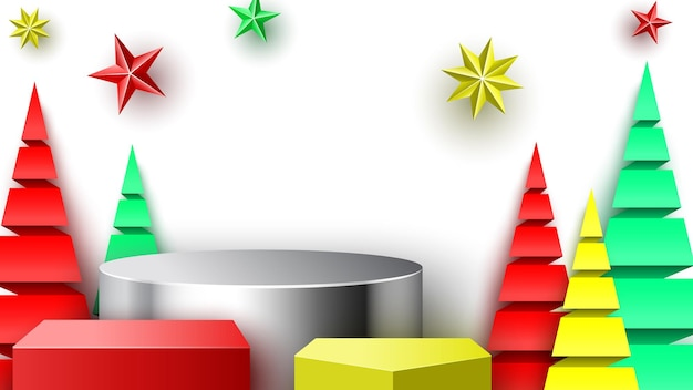 Christmas podium with stars and paper trees. exhibition stand. pedestal. vector illustration.