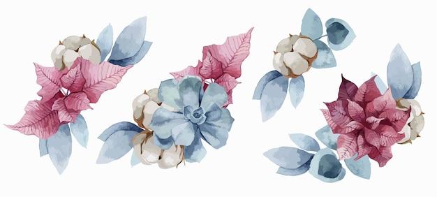 クリスマスポインセチアの花、綿の花束セット