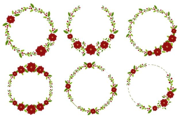 Рождественский пуансеттийский цветок с минимальной коллекцией венок