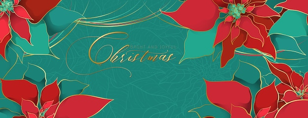 Christmas poinsettia green header in an elegant luxury style. red and green silk leaves with golden line on a green background. christmas and new year social networks decor