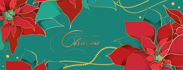 Рождественский заголовок пуансеттия зеленый в элегантном роскошном стиле.