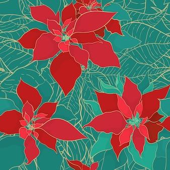 우아한 장식 스타일의 크리스마스 포인세티아 녹색 빨간색 원활한 패턴입니다. 시원한 녹색 배경에 황금색 선이 있는 녹색 빨간색 잎. 크리스마스 포장 및 포장지 또는 직물을 위한 디자인