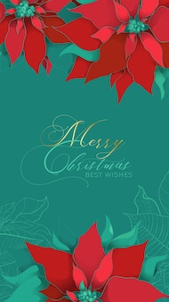 Christmas poinsettia green silk greeting web stories banner with best wishes in an elegant style.