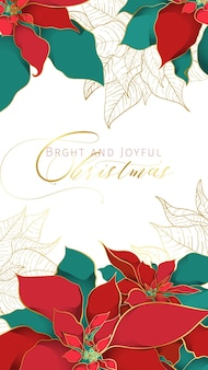 Christmas poinsettia greeting stories banner