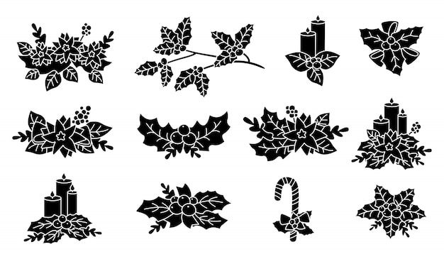 Christmas poinsettia, holly, candle silhouette set. black glyph flat cartoon design. new year and christmas composition. berries and candy, flower collection, with stars. isolated illustration