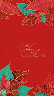 Christmas poinsettia red greeting card in an elegant decorative trend.