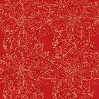 축하 장식을 위한 크리스마스 포인세티아 레드 원활한 패턴입니다. 붉은 크리스마스 배경에 황금선이 있는 붉은 잎. 크리스마스 포장 및 포장지 또는 직물을 위한 디자인