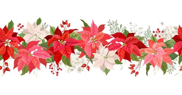 Рождество пуансеттия вектор гирлянды границы, акварель цветочные зимний сезон кадр, праздник бесшовный фон, с ягодами рябины, сосновая ветка, звездные цветы, рождественские украшения баннер
