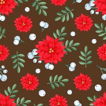 クリスマスポインセチア水彩シームレスパターン