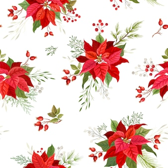 Christmas poinsettia winter seamless pattern with floral mistletoe, branches of rowan tree with berries. watercolor floral vector illustration for wrapping paper, textile, print, wallpaper