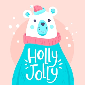 Christmas polar bear character with lettering