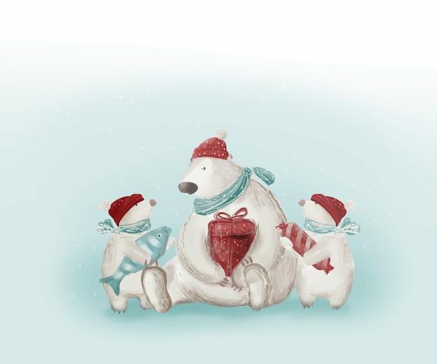 クリスマス。ギフト付きホッキョクグマ。ギフトボックス、魚、キャンディーを持つ面白い動物。