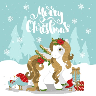 Christmas pony on a beautiful winter