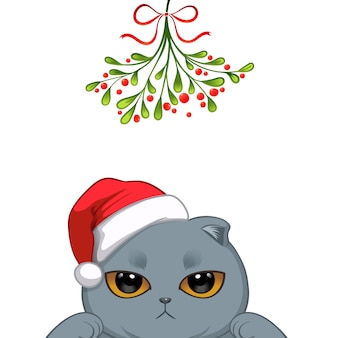 Christmas portrait of cute cat character