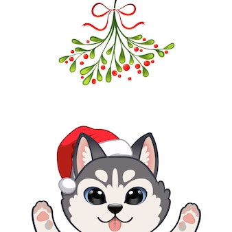 Christmas portrait of cute dog character