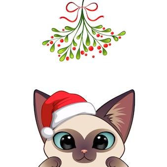 かわいい猫のキャラクターのクリスマスの肖像画